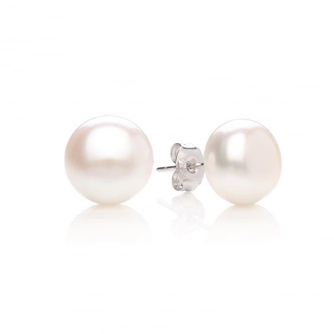 David Deyong Sterling Silver & Button Pearl 10mm Stud Earrings