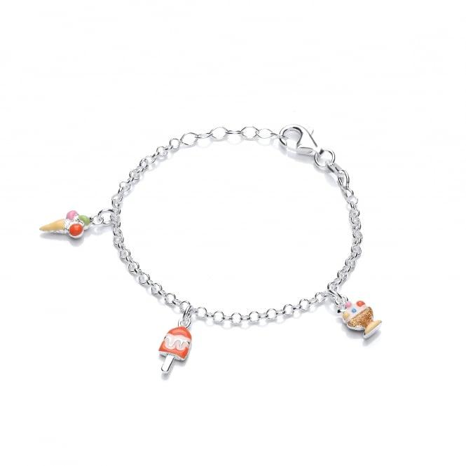 David Deyong Sterling Silver Children's Ice Cream Charm Bracelet