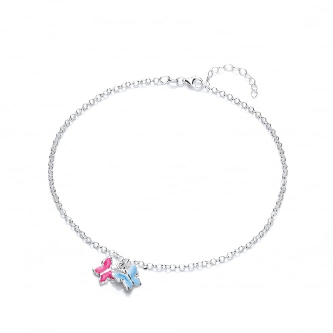 David Deyong Sterling Silver Children's Pink & Blue Butterfly Necklace