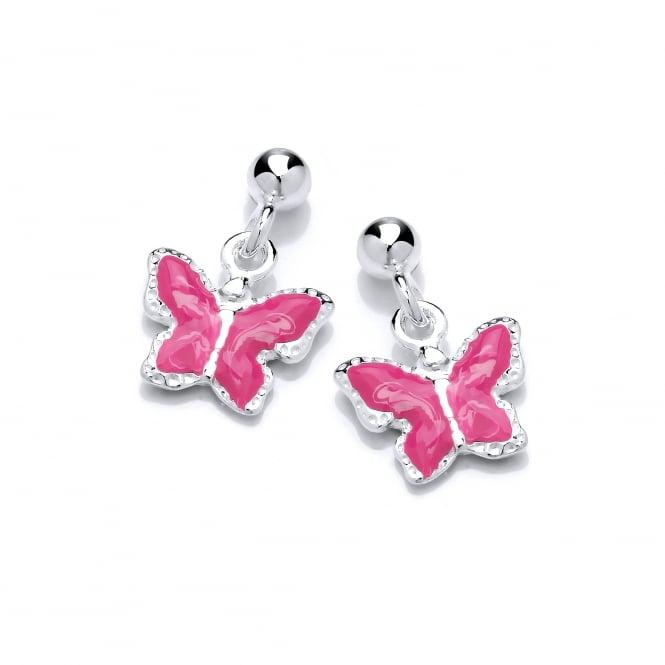 David Deyong Sterling Silver Children's Pink Butterfly Drop Earrings