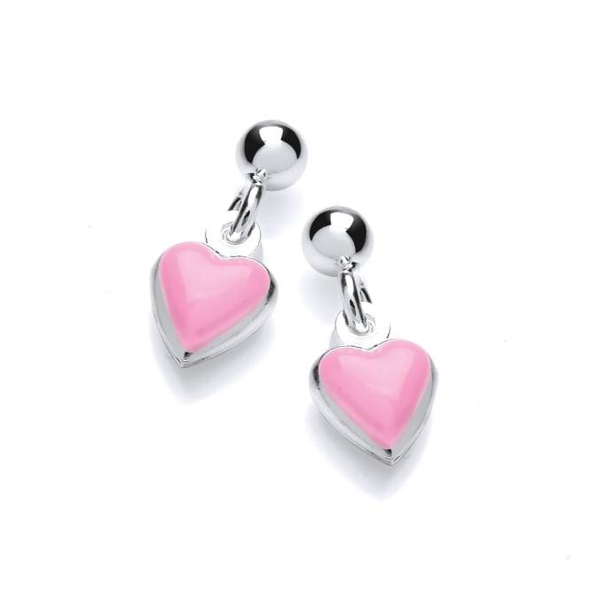 David Deyong Sterling Silver Children's Pink Enamel Heart Drop Earrings