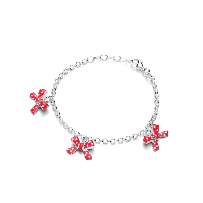 David Deyong Sterling Silver Children's Red Bow Charm Bracelet