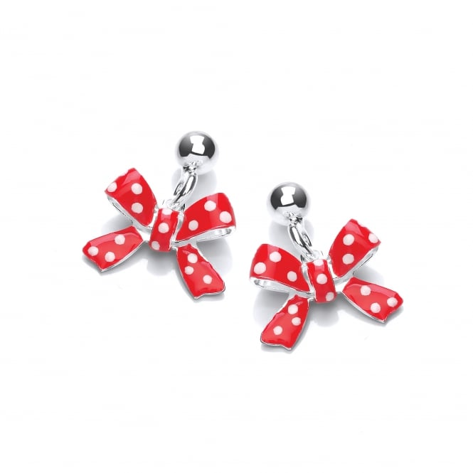 David Deyong Sterling Silver Children's Red Bow Drop Earrings