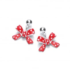 Sterling Silver Children's Red Bow Drop Earrings