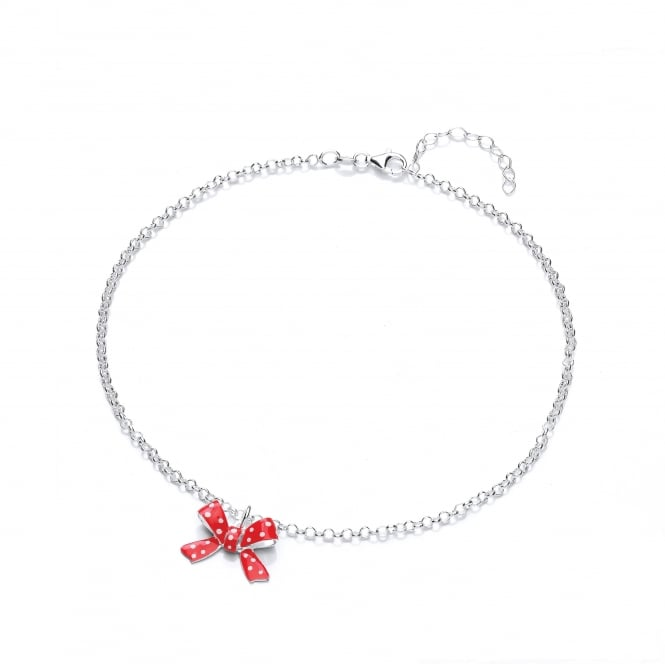 David Deyong Sterling Silver Children's Red Bow Necklace