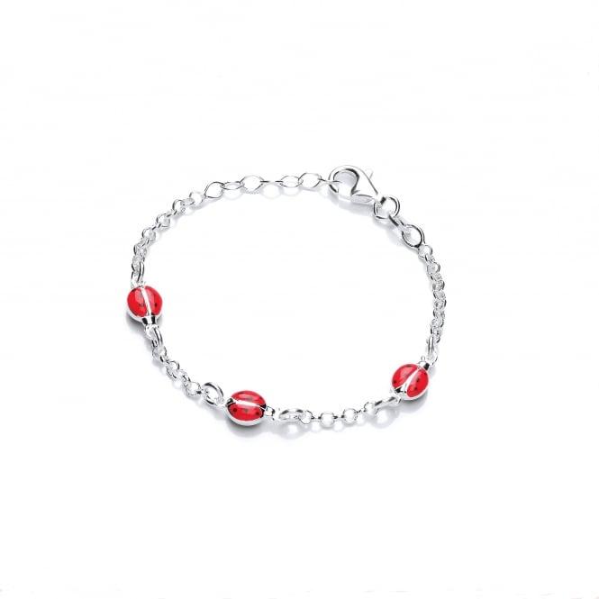 David Deyong Sterling Silver Children's Red Ladybug Bracelet