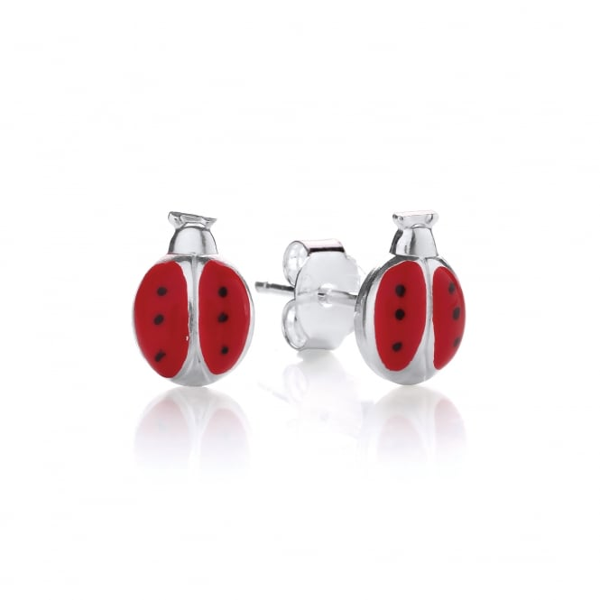 David Deyong Sterling Silver Children's Red Ladybug Stud Earrings