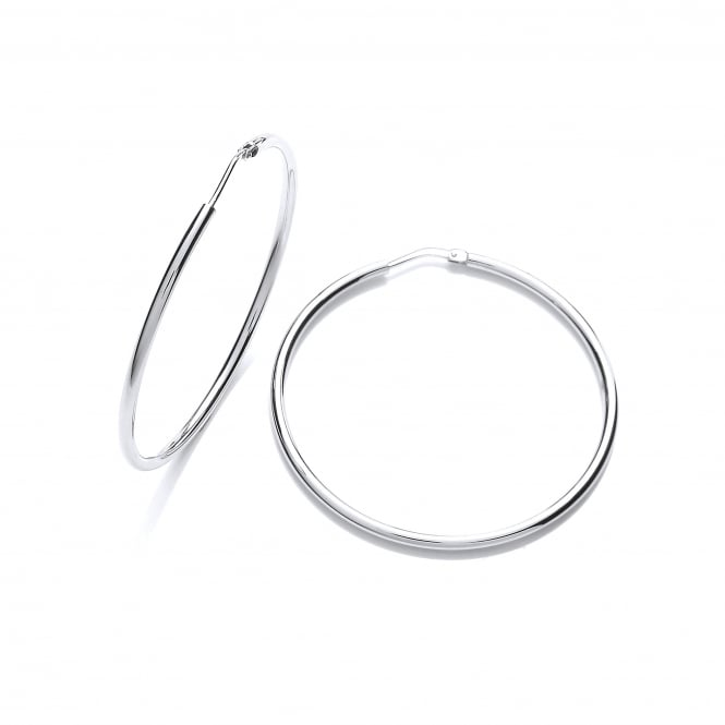 David Deyong Sterling Silver Classic 35mm Fine Hoop Earrings