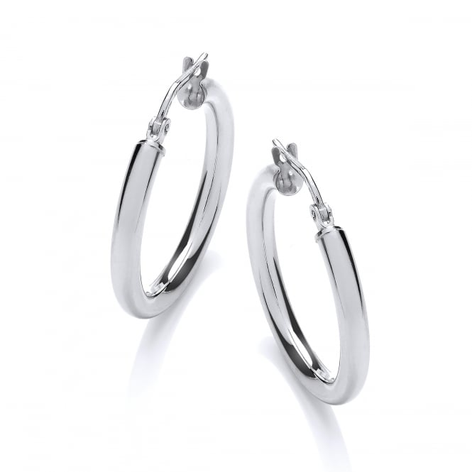 David Deyong Sterling Silver Classic Hinged Hoop Earrings