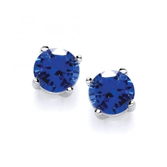 David Deyong Sterling Silver Created Blue Sapphire Stud Earrings