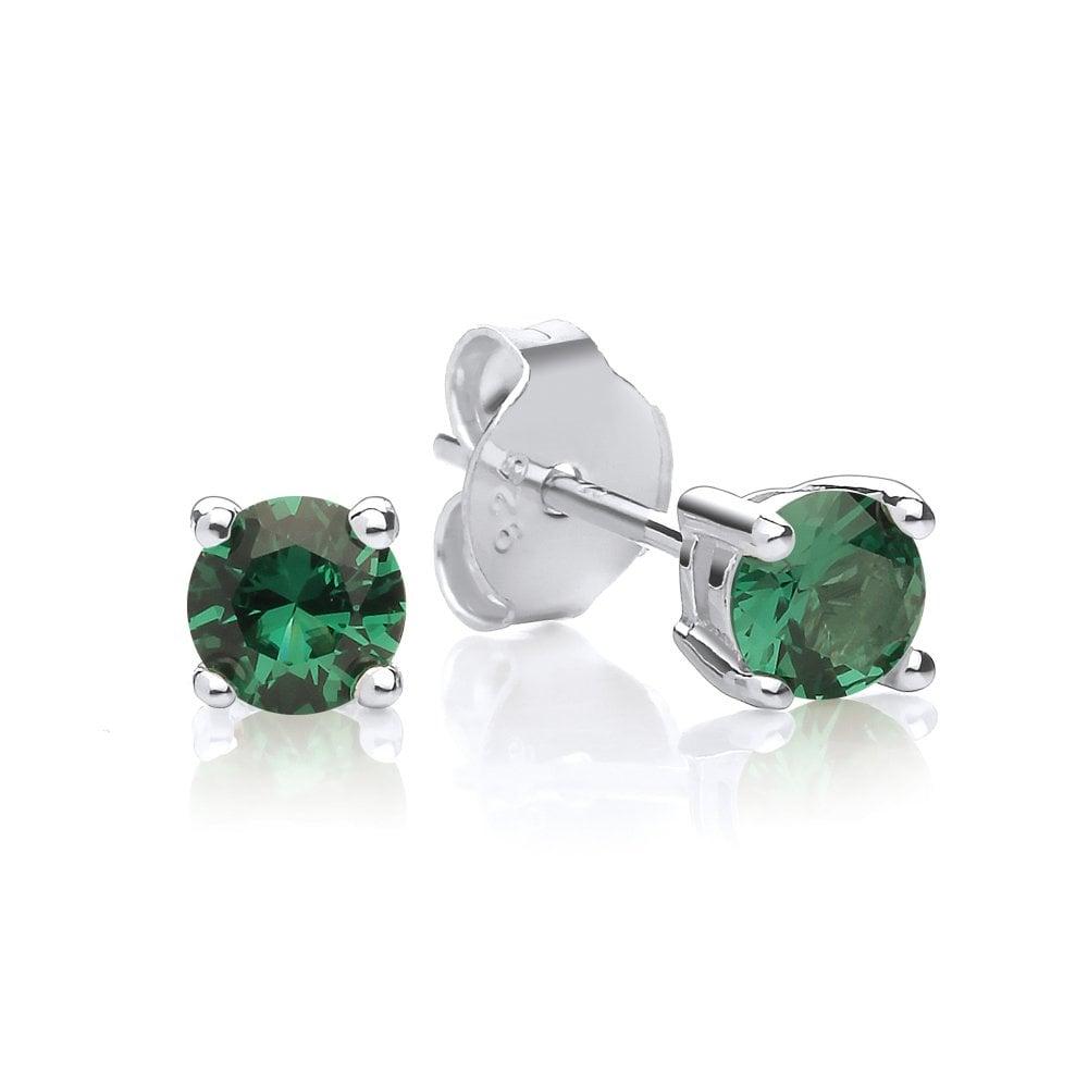 Birthstone Earrings Jewellery London Created Green Emerald Stud Earrings
