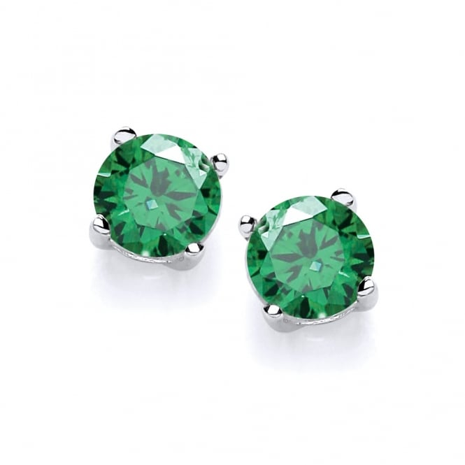 David Deyong Sterling Silver Created Green Emerald Stud Earrings