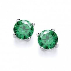 Sterling Silver Created Green Emerald Stud Earrings