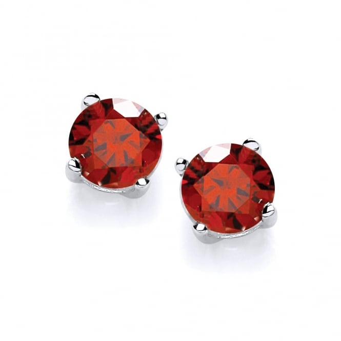 David Deyong Sterling Silver Created Red Ruby Stud Earrings