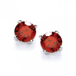 Sterling Silver Created Red Ruby Stud Earrings