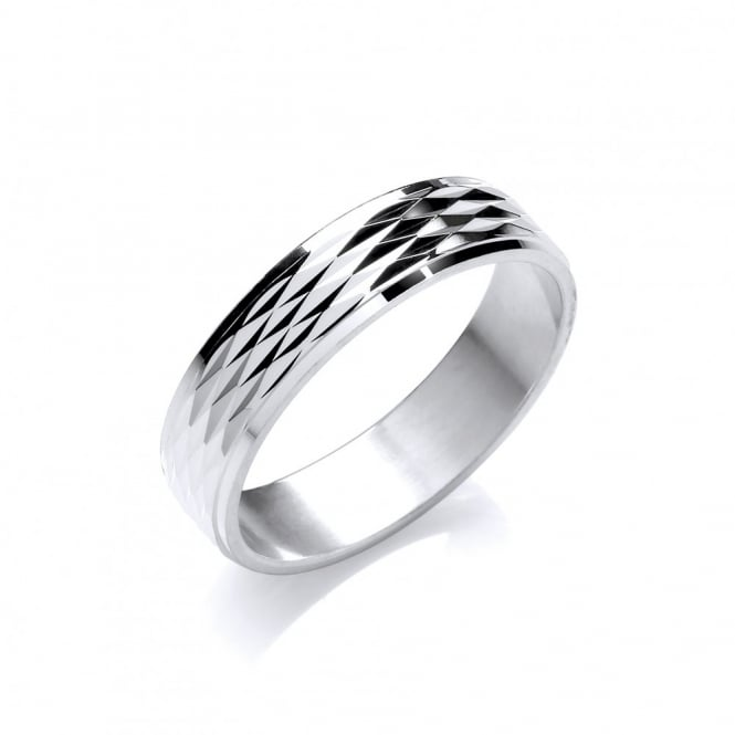 David Deyong Sterling Silver Criss Cross Textured Band