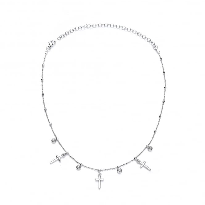 David Deyong Sterling Silver Cross & CZ Choker Necklace