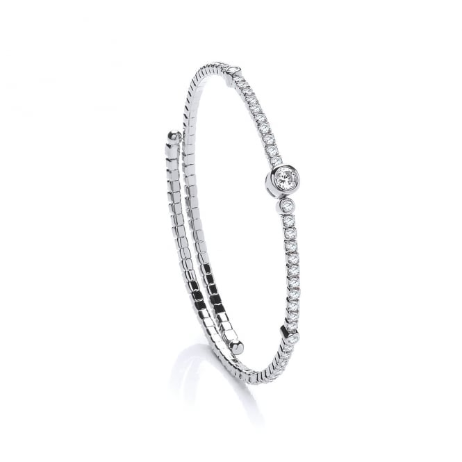 David Deyong Sterling Silver & Cubic Zirconia Contemporary Tennis Bangle
