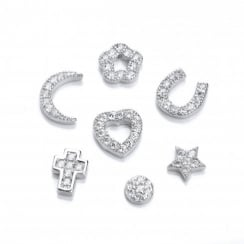 Sterling Silver & Cubic Zirconia Symbol Charm For Locket