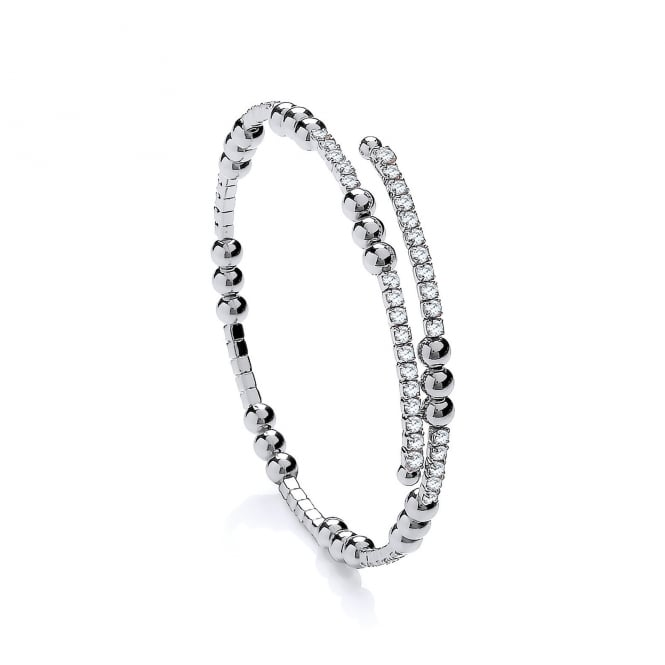 David Deyong Sterling Silver & Cubic Zirconia Triple Bead Tennis Bangle