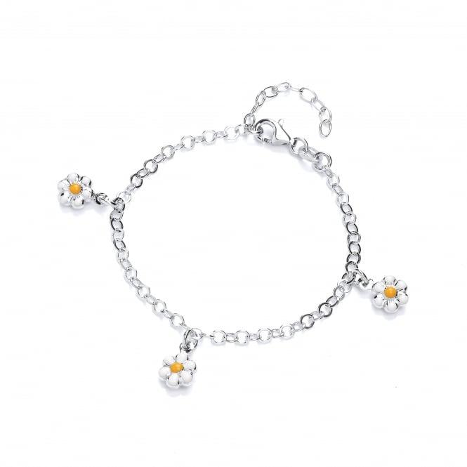 David Deyong Sterling Silver Daisies Children's Enamel Charm Bracelet