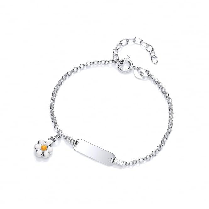 David Deyong Sterling Silver Daisies Children's Enamel ID Bracelet
