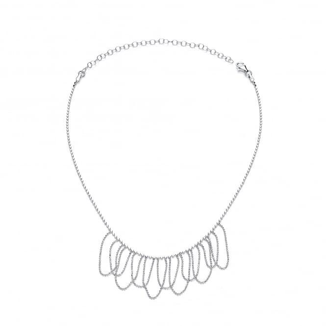 David Deyong Sterling Silver Dangling Diamond Cut Choker Necklace