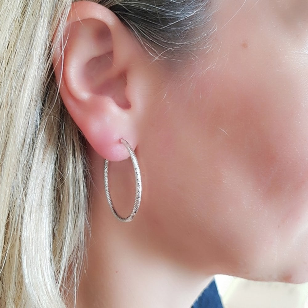 10 x Silver Plated Earring Hoops 35mm