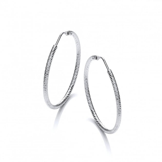 David Deyong Sterling Silver Diamond Cut 35mm Hoop Earrings