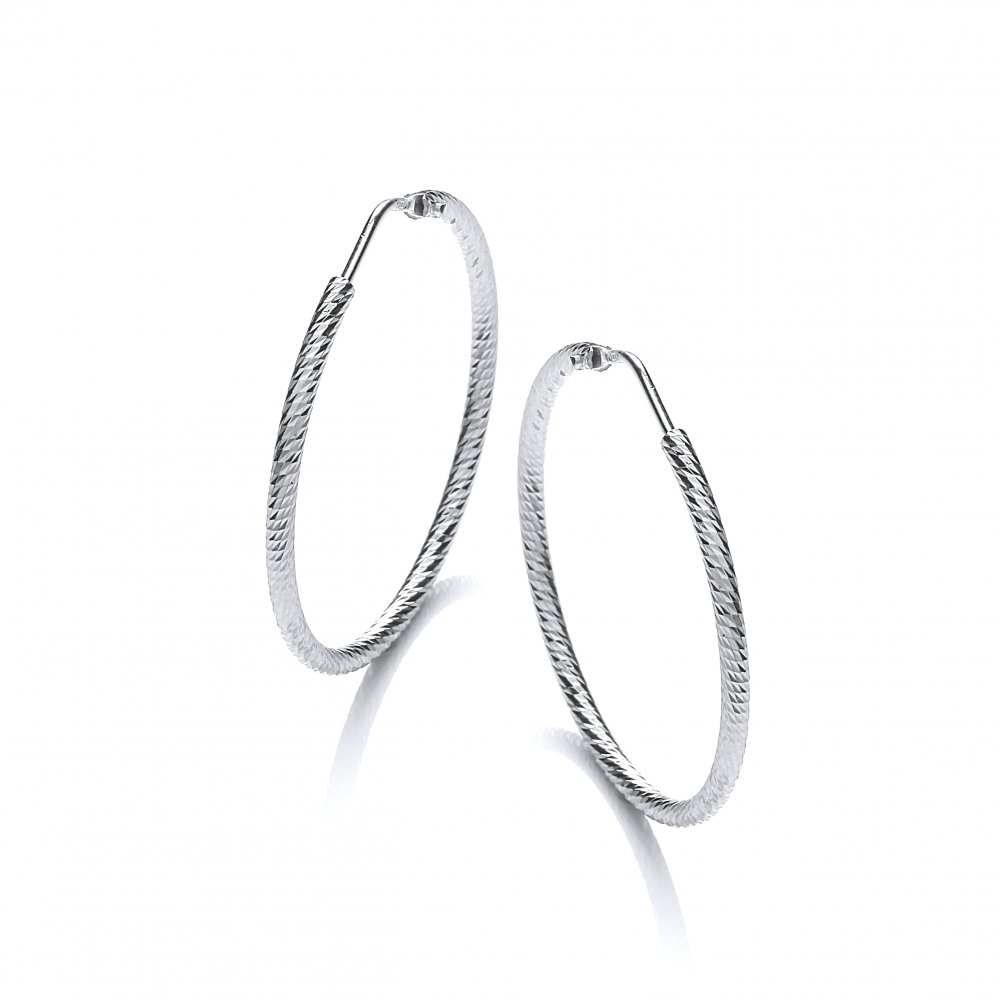 8b051c8d4 Sterling Silver Diamond Cut Hoop Earrings 45mm by David Deyong