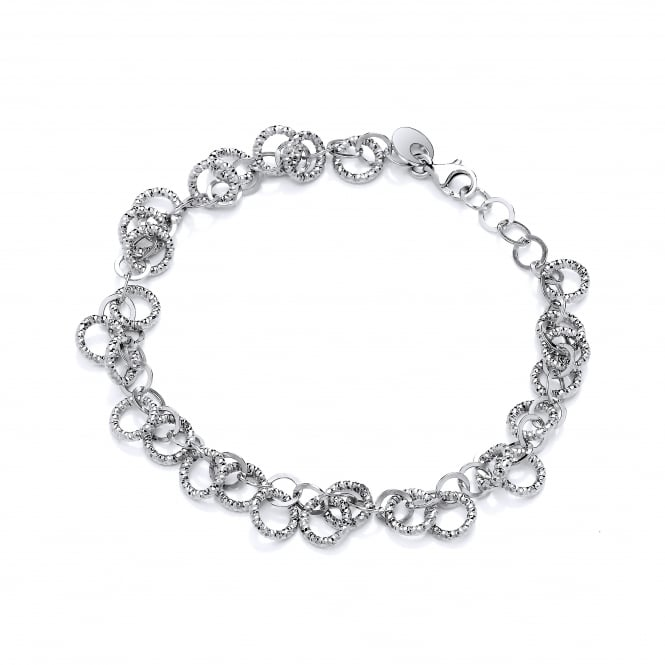 David Deyong Sterling Silver Diamond Cut Circles Bracelet