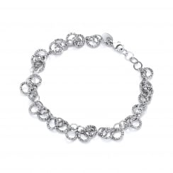 Sterling Silver Diamond Cut Circles Bracelet