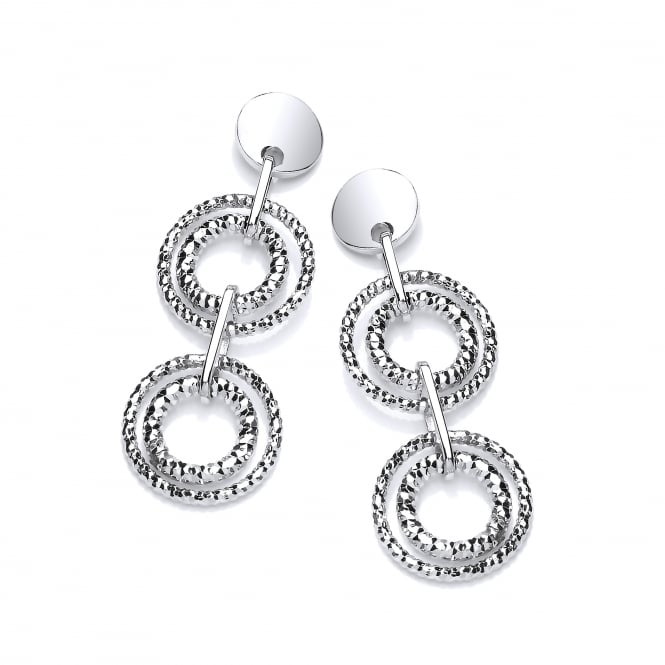 David Deyong Sterling Silver Diamond Cut Double Drop Earrings
