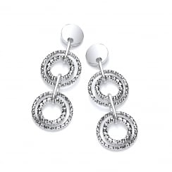 Sterling Silver Diamond Cut Double Drop Earrings