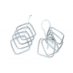 Sterling Silver Diamond Cut Geometric Drop Earrings