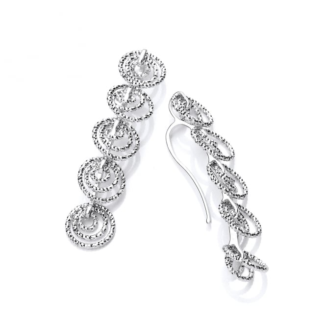 David Deyong Sterling Silver Diamond Cut Long Multi Circle Drop Earrings