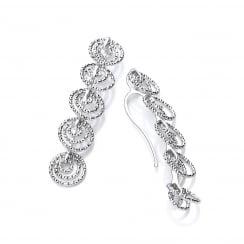 Sterling Silver Diamond Cut Long Multi Circle Drop Earrings