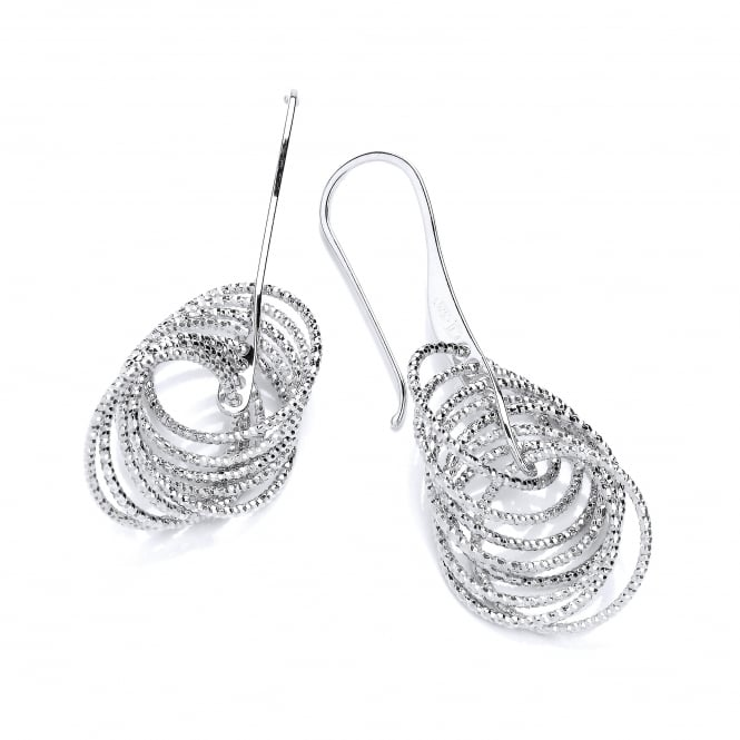 David Deyong Sterling Silver Diamond Cut Multi Circle Drop Earrings