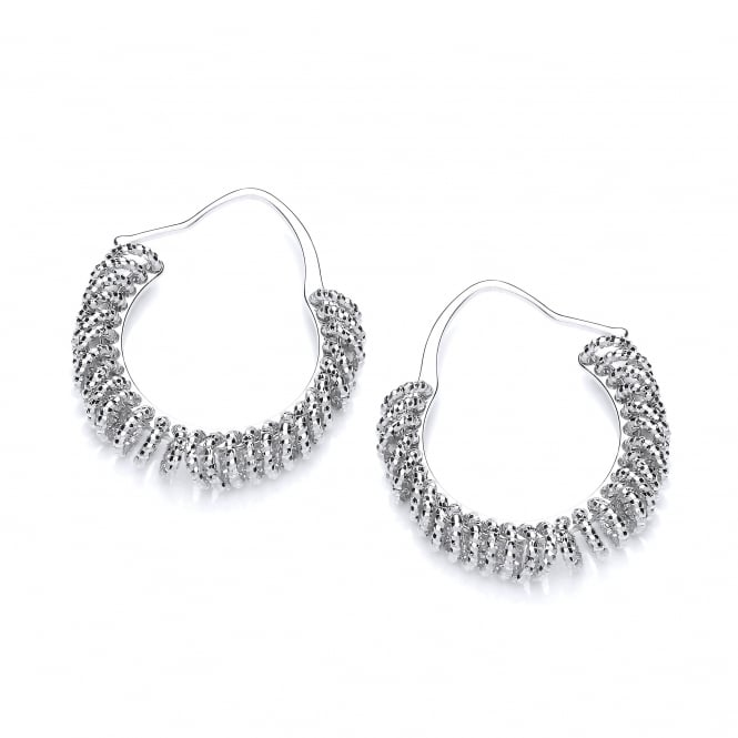 David Deyong Sterling Silver Diamond Cut Multi Circle Small Hoop Earrings