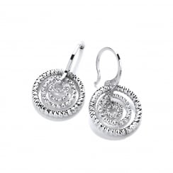 Sterling Silver Diamond Cut Multi Hoop Earrings