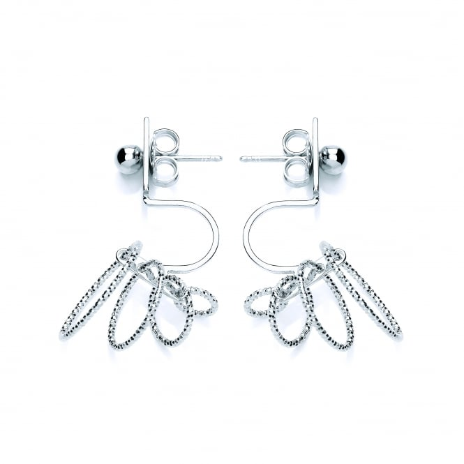 David Deyong Sterling Silver Diamond Cut Multi Hoops Back Drop Earrings
