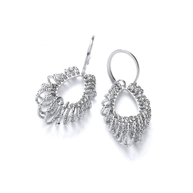 David Deyong Sterling Silver Diamond Cut Tear Drop Hook Earrings