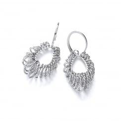Sterling Silver Diamond Cut Tear Drop Hook Earrings