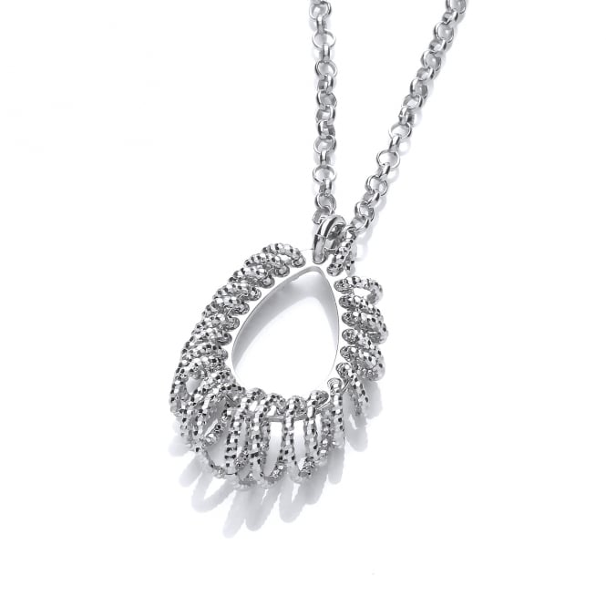 David Deyong Sterling Silver Diamond Cut Tear Drop Necklace