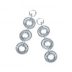 Sterling Silver Diamond Cut Triple Drop Earrings