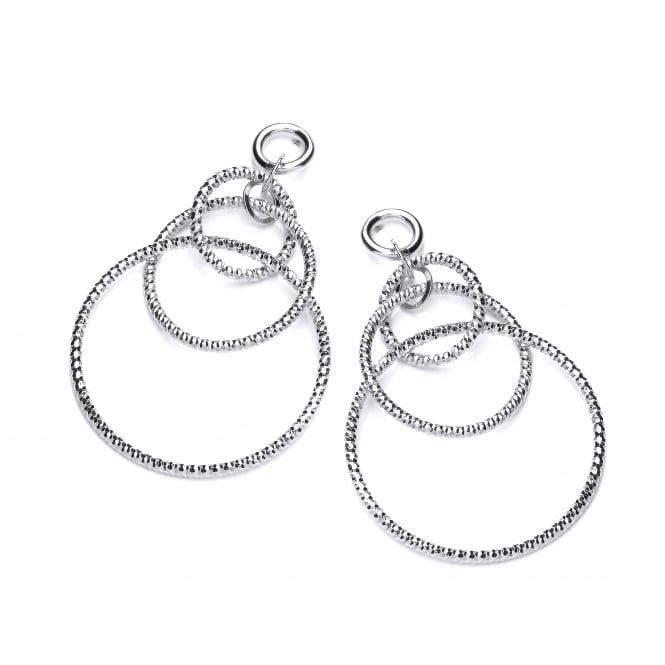 David Deyong Sterling Silver Diamond Cut Triple Hoop Drop Earrings