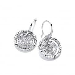 Sterling Silver Diamond Cut Triple Hoop Earrings