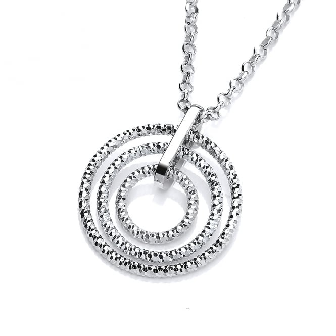 David Deyong Sterling Silver Diamond Cut Triple Hoops Necklace