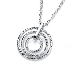 Sterling Silver Diamond Cut Triple Hoops Necklace