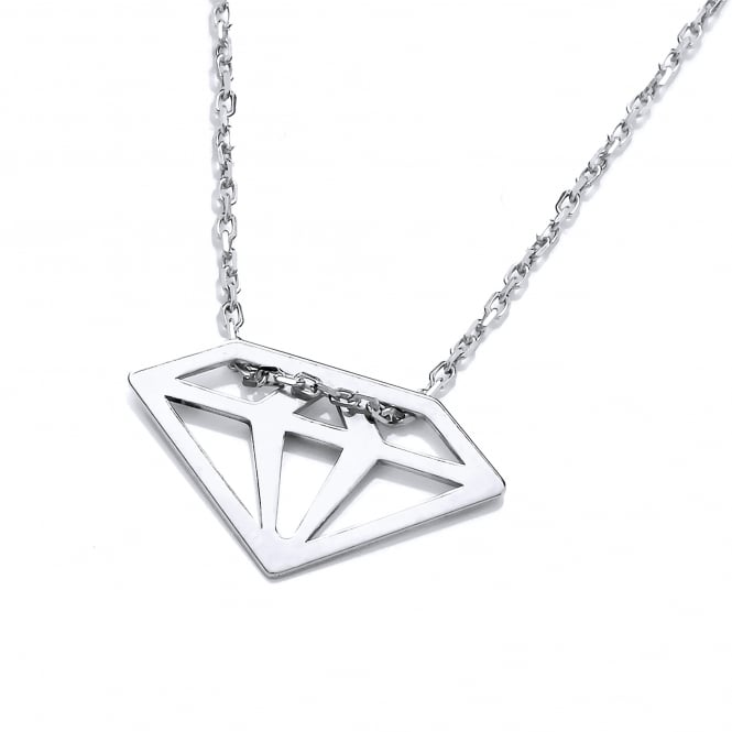 David Deyong Sterling Silver Diamond Shape Fine Necklace
